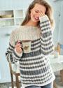 Пуловер в полоску с простым рельефным узором. Спицы