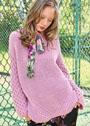 Шерстяной пуловер с диагональными ребристыми вставками и рукавами из сот. Спицы