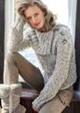 Меланжевый пуловер с большим воротником и застежкой на плече. Спицы