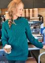 Бирюзовый шерстяной пуловер с рельефным декором. Спицы