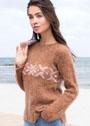 Классический теплый пуловер с жаккардовой полосой. Спицы