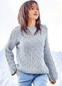 Голубой меланжевый пуловер с ромбовидным узором. Спицы