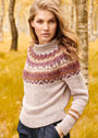 Теплый пуловер с круглой жаккардовой кокеткой. Спицы