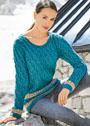 Бирюзовый шерстяной пуловер с узором из кос. Спицы