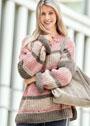 Пуловер оверсайз с полосами и ажурными дорожками. Спицы