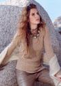 Песочный пуловер с косой резинкой. Спицы