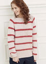 Пудрово-розовый пуловер с красными полосками. Спицы
