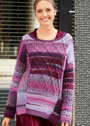 Разноцветный пуловер с миксом узоров и боковыми разрезами. Спицы
