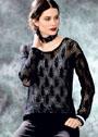 Черный ажурный пуловер из тонкой шерстяной пряжи. Спицы
