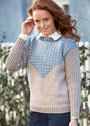 Пуловер с жаккардовой треугольной вставкой. Спицы