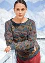 Пуловер с трехцветным узором из снятых петель. Спицы