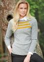 Серый пуловер с золотистыми полосками. Спицы