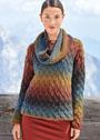 Пуловер с плетеным узором и шарф-петля из пряжи секционного крашения. Спицы