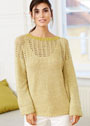 Теплый мягкий пуловер с ажурной кокеткой. Спицы