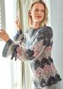 Пуловер с волнистым узором и завязками на рукавах. Спицы