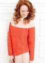 Оранжево-красный пуловер с контрастной кокеткой. Спицы
