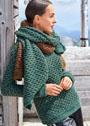 Пуловер с тканым узором, дополненный двумя шарфами. Спицы
