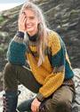 Разноцветный пуловер с миксом узоров. Спицы