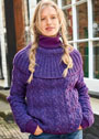 Фиолетовый пуловер с воротником-пелериной. Спицы