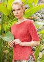Красный летний пуловер с боковыми разрезами. Спицы