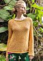 Желтый летний пуловер с зубчатыми краями. Спицы