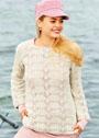 Белый пуловер с волнистым ажурным узором. Спицы