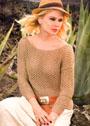 Легкий бежевый пуловер с ажурным узором. Спицы