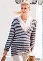 Пуловер с бретонскими полосками. Спицы
