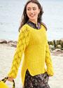 Желтый пуловер с удлиненной спинкой и ажурными рукавами. Спицы