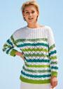 Пуловер с ажурными полосами и кокеткой в резинку. Спицы