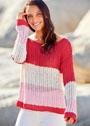 Пуловер с широкими цветными полосами. Спицы