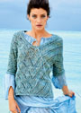 Пуловер с ромбами и диагональными полосами. Спицы
