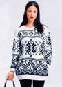 Норвежский черно-белый пуловер с карманами. Спицы