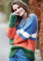 Мягкий полосатый пуловер с полупатентным узором. Спицы