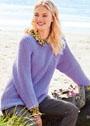 Теплый пуловер-реглан с полупатентным узором. Спицы