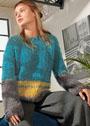 Свободный трехцветный пуловер простой вязки. Спицы