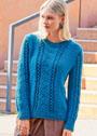 Пуловер с узором Елочка и ажурными полосками. Спицы