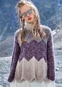 Пуловер с крупным зигзагообразным узором. Спицы