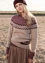 Чистошерстяной пуловер с жаккардовыми узорами. Спицы