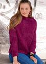 Пуловер с патентным узором и широким воротом. Спицы