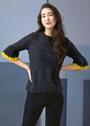 Женственный пуловер с оборками на рукавах длиной 3/4. Спицы