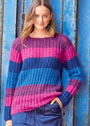 Четырехцветный пуловер с ложным патентным узором. Спицы