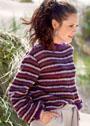 Полосатый пуловер с расширенными рукавами. Спицы