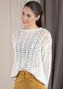 Белый ажурный пуловер с расклешенным силуэтом. Спицы