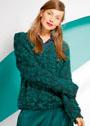 Темно-бирюзовый пуловер из фасонной пряжи. Спицы