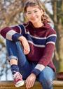 Пуловер с полупатентным узором и капюшоном. Спицы