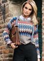 Пуловер с разноцветным жаккардовым орнаментом. Спицы