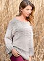 Пуловер оверсайз с рельефным узором и широкими планками в полоску. Спицы