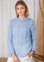 Голубой мягкий пуловер с косами и капюшоном. Спицы