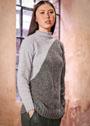 Двухцветный пуловер с диагональным переходом. Спицы